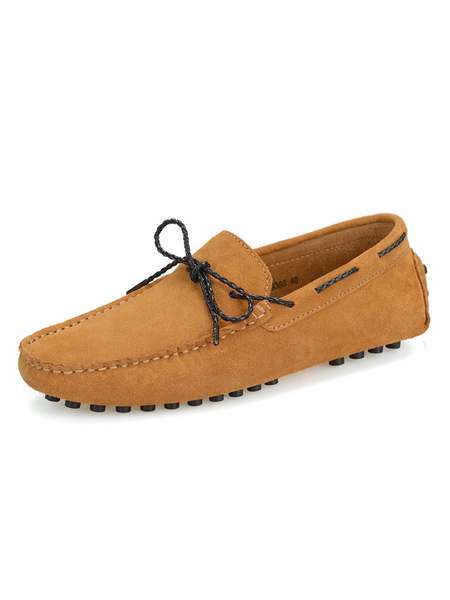 Milanoo Loafer Shoes For Men Slip-On Round Toe Suede Leather Round Toe Men\'s Loafer Shoes
