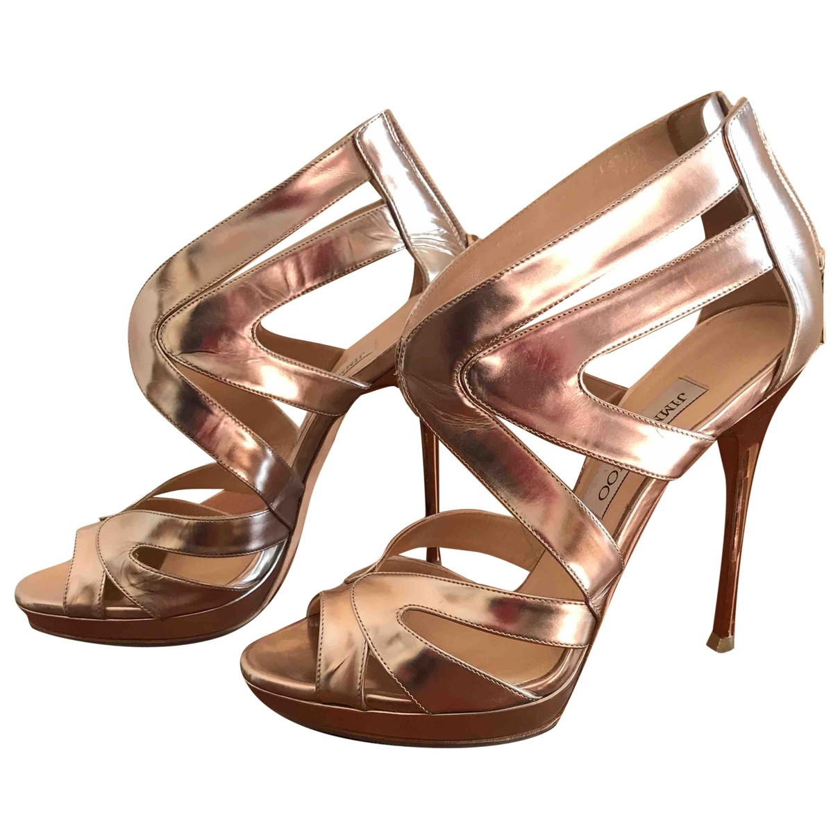Jimmy Choo \N Gold Patent leather Sandals for Women 38 EU