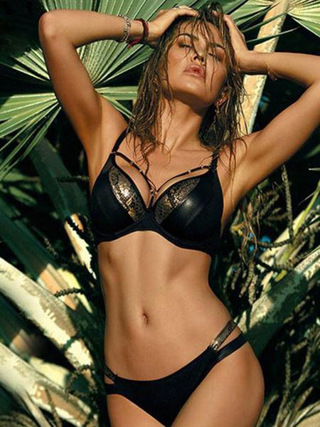 Milanoo Women Bikini Snake Print Straps Strappy Swimsuit Summer Beach Swimsuits