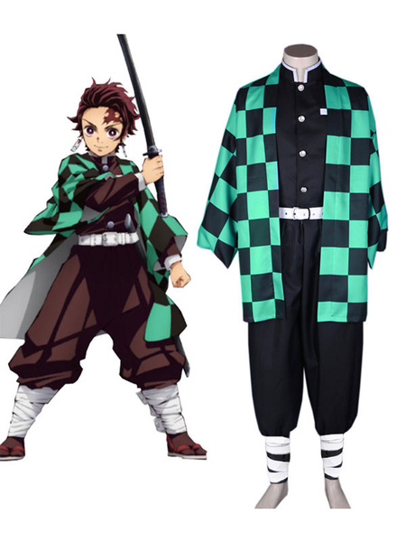 Milanoo Stylish Demon Slayer Kimetsu No Yaiba Cosplay Costume Kamado Tanjirou Uniform Cloth Cosplay Costume