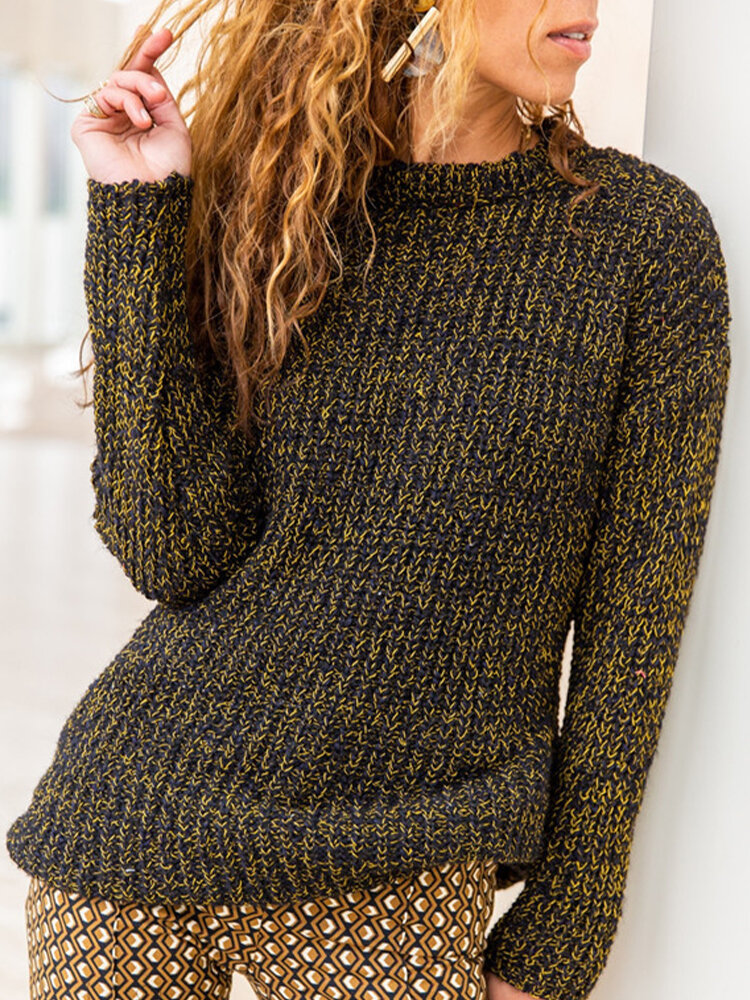 O-neck Solid Color Long Sleeve Casual Sweater For Women