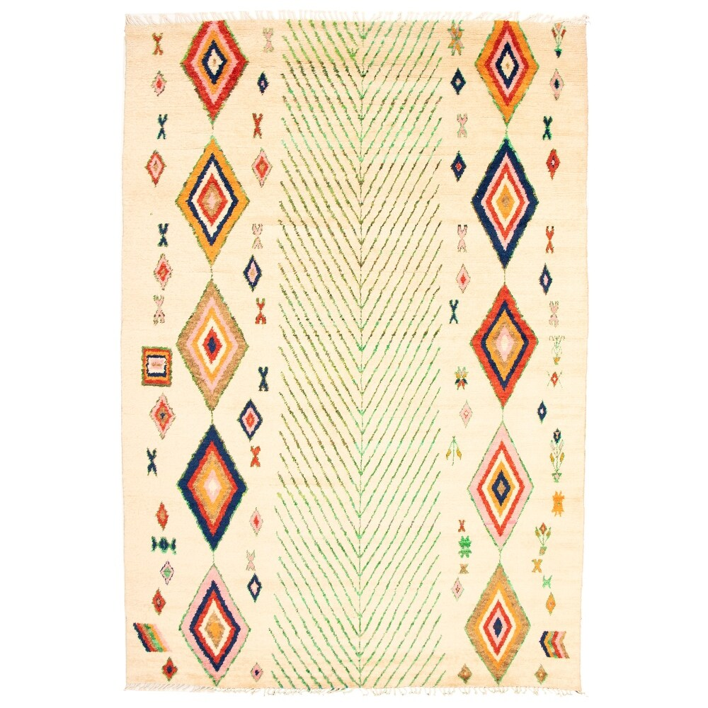 ECARPETGALLERY  Hand-knotted Pak Finest Marrakesh Cream Wool Rug - 9'9 x 14'5 (Cream - 9'9 x 14'5)