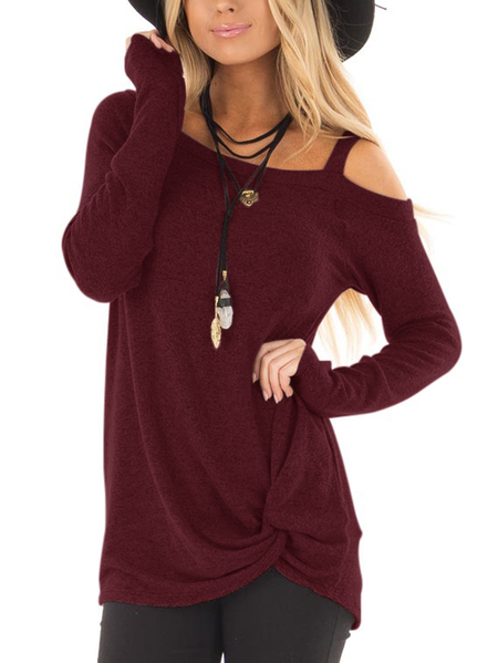 Yoins Burgundy Crossed Front Design Plain One Shoulder Long Sleeves T-shirts