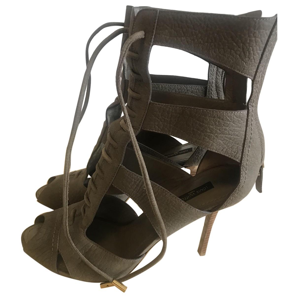 Louis Vuitton - Sandales   pour femme en cuir - kaki