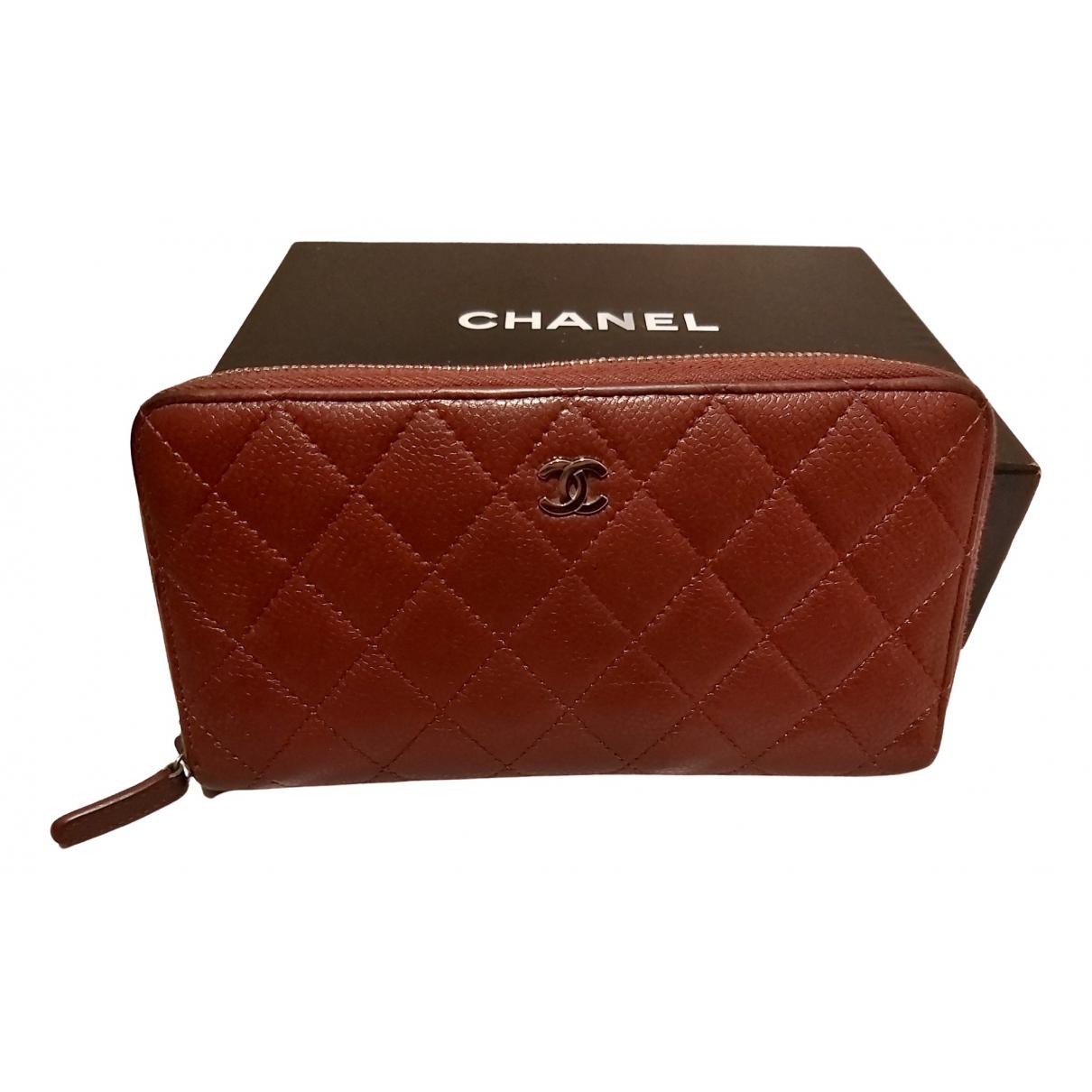 Chanel - Portefeuille Timeless/Classique pour femme en cuir - bordeaux