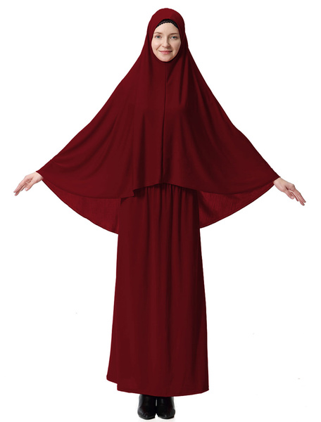 Milanoo Women Two Piece Abaya Clothing Long Sleeve Hooded Top With Long Skirt