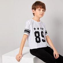 Boys Star and Number Print Striped Top