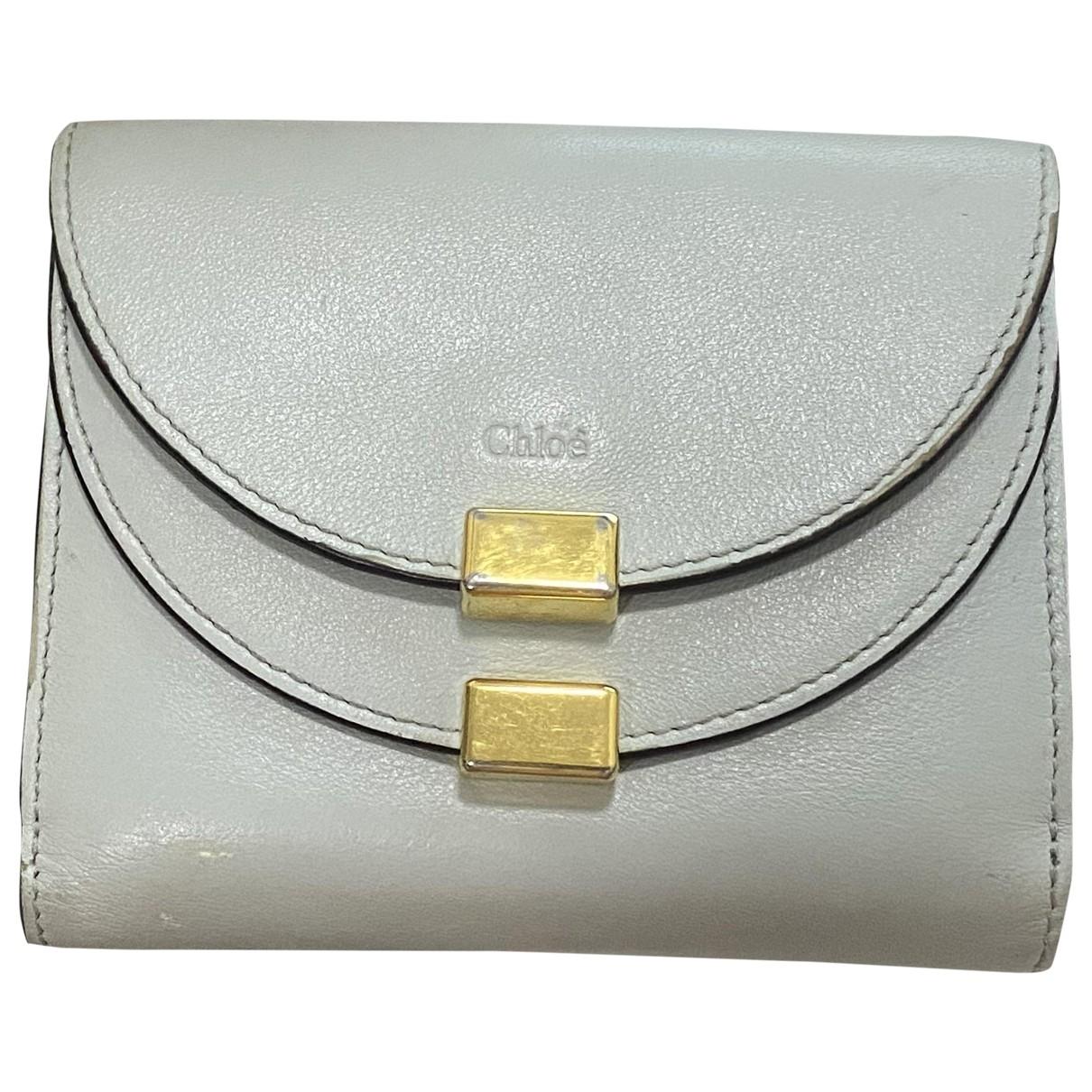 Chloe \N Portemonnaie in  Grau Leder