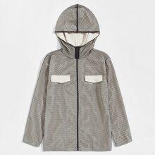 Jacke mit Klappe Detail, Reissverschluss, Netzstoff und Kapuze