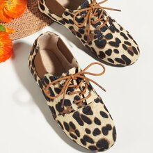 Toddler Girls Leopard Lace-up Front Flats