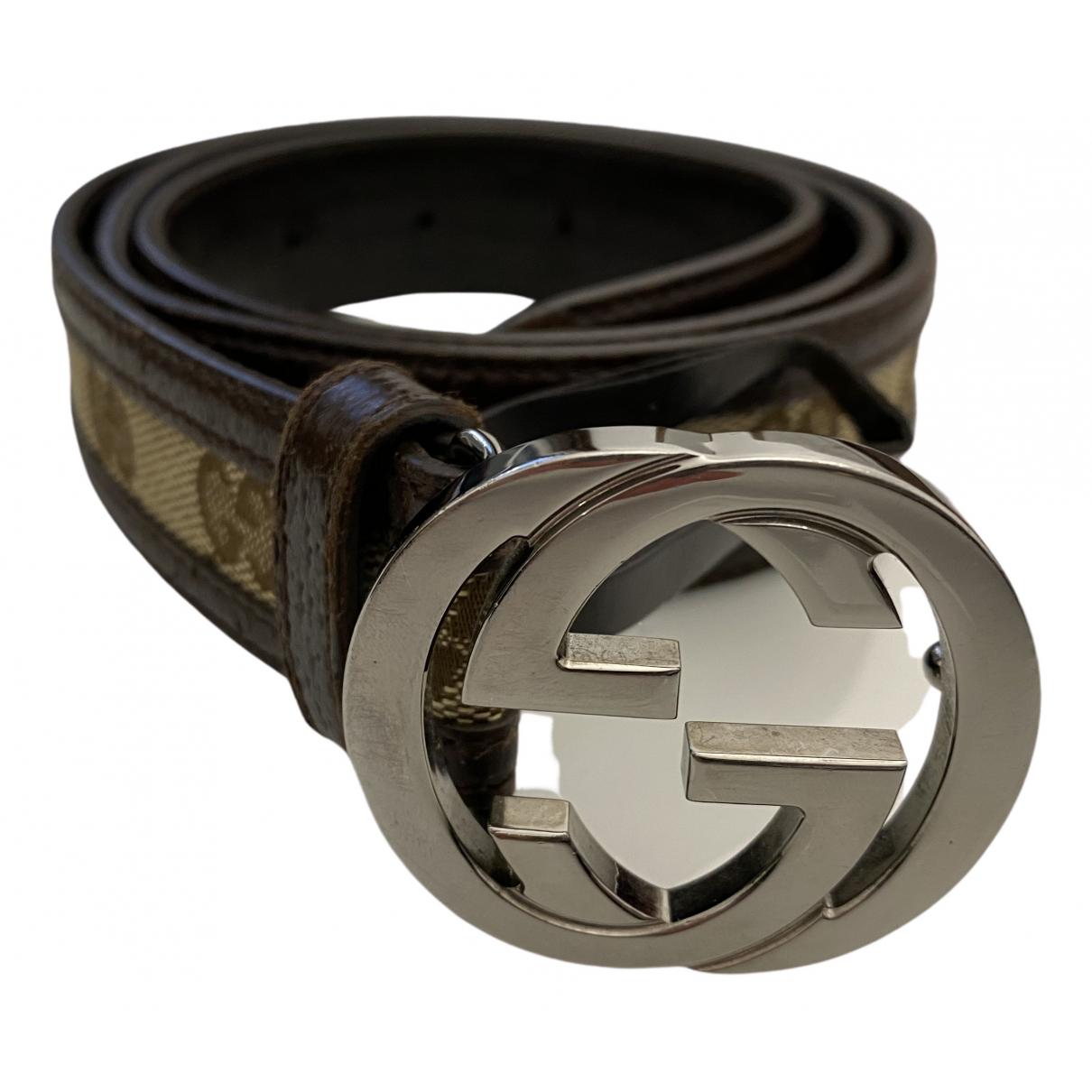 Gucci Interlocking Buckle Brown Cloth belt for Women 85 cm