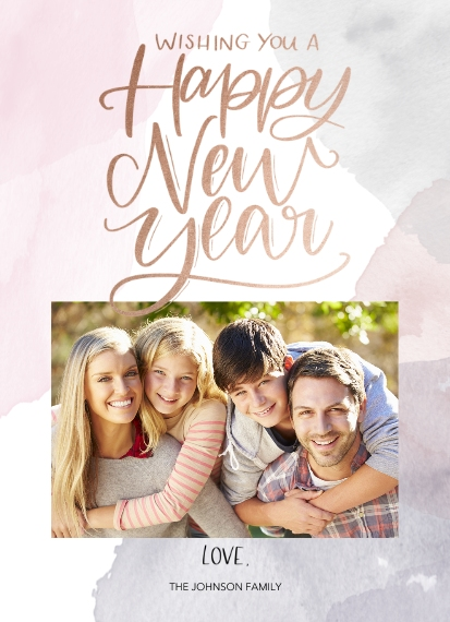 New Year Cards Mail-for-Me 7x10 Seal & Send Cards, Card & Stationery -Watercolor Wishes