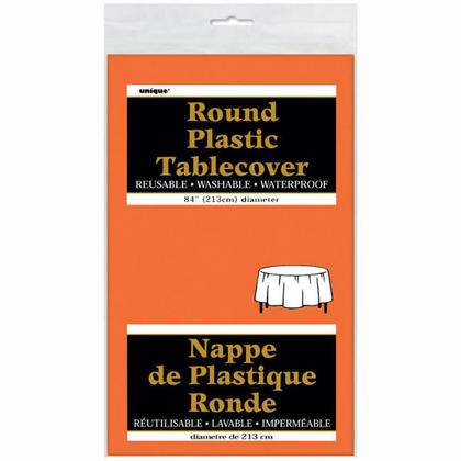 Housse de table en plastique ronde, orange 84
