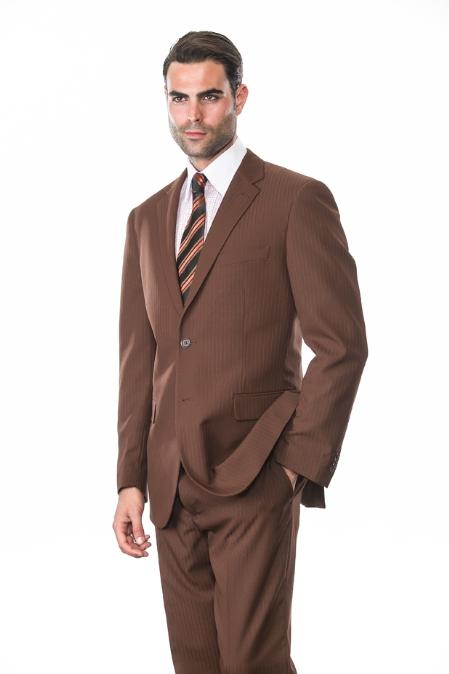 Mens 2 Piece 2 Button Supers Extra Fine Coco Tone on Tone Stripe Suit