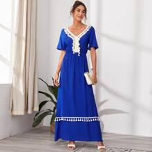 Fringe Trim A-Line Maxi Dress