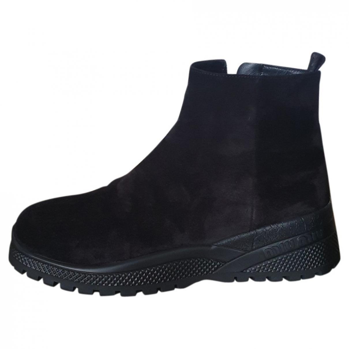Miu Miu \N Black Leather Ankle boots for Women 39 EU
