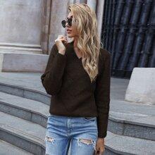Pointelle Knit V Neck Sweater