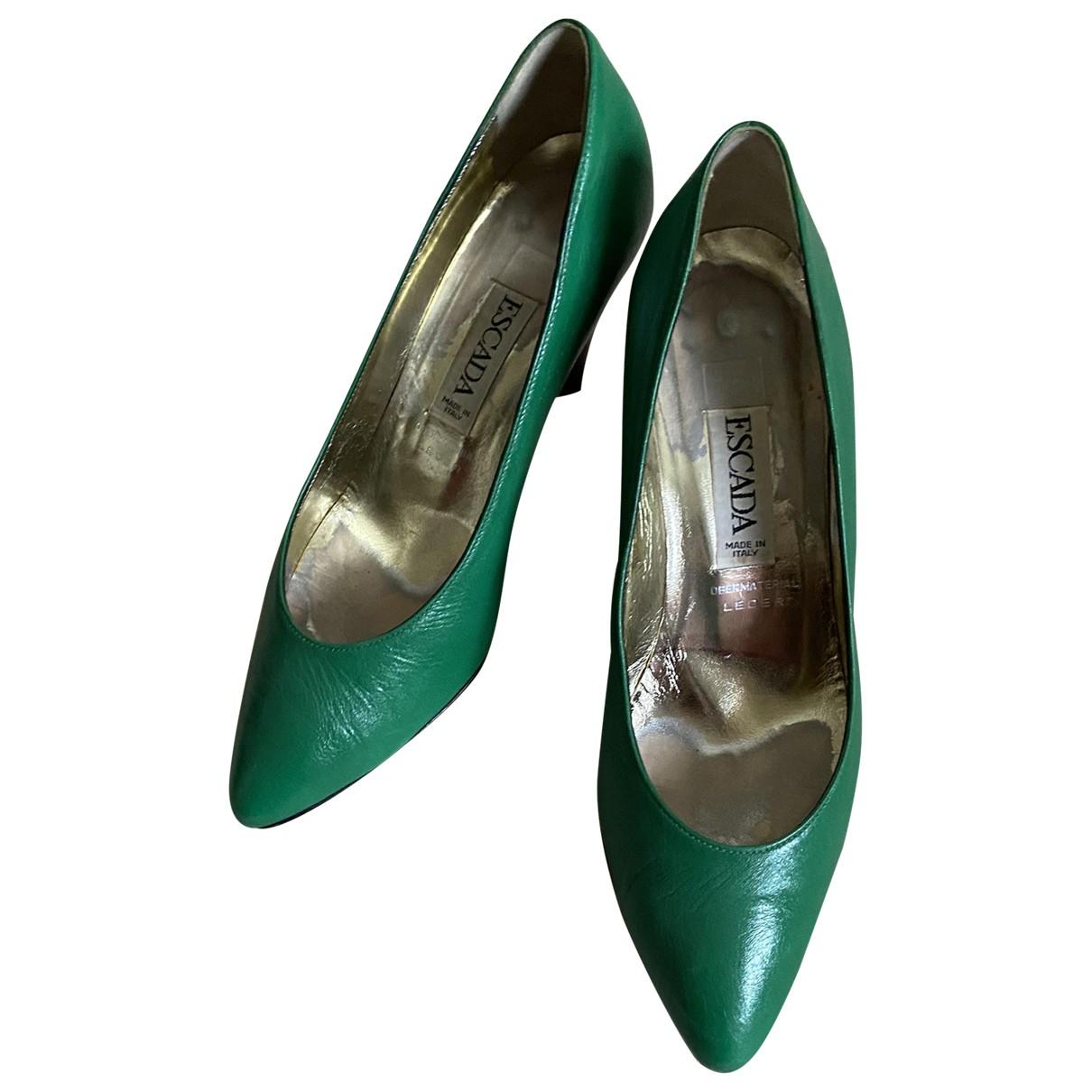 Escada N Green Leather Heels for Women 36.5 EU