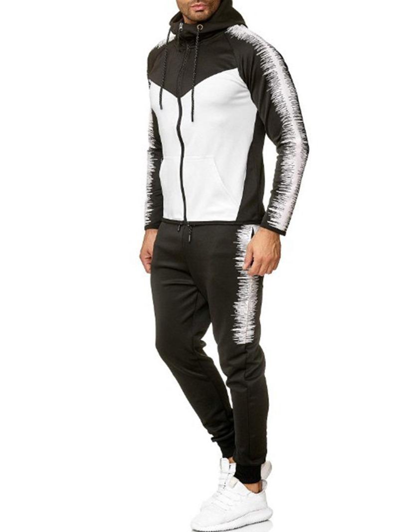 Ericdress Hoodie Color Block Men's Zipper Outfit