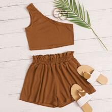 Strick Crop Top mit einer Schulter frei & Shorts mit Papiertasche Taille