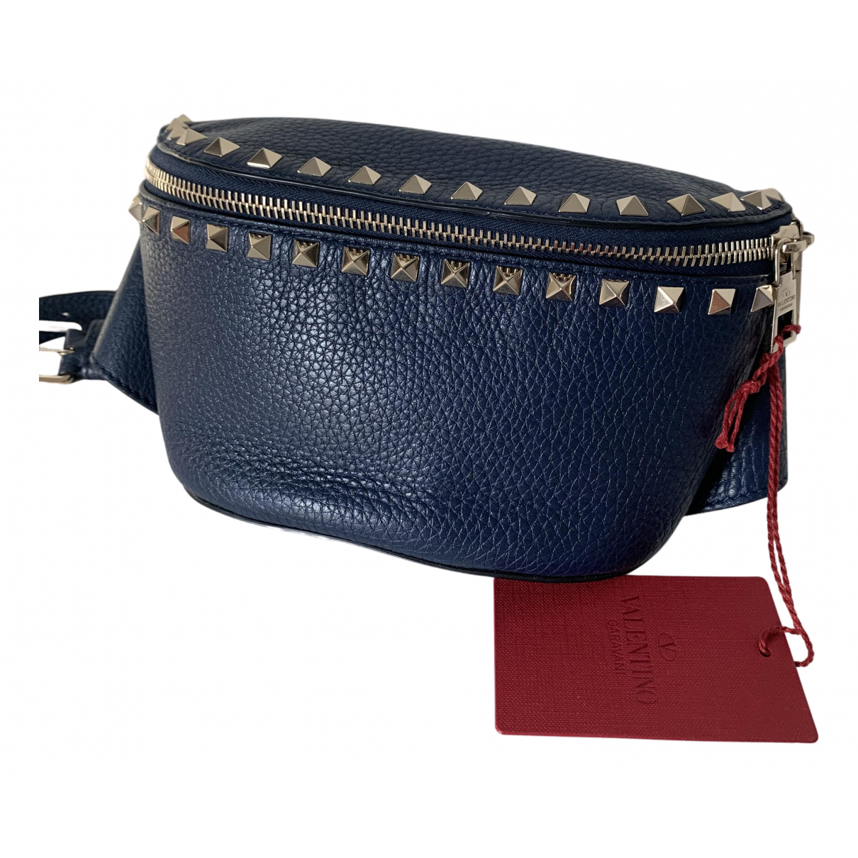 Valentino Garavani Rockstud Navy Leather Clutch bag for Women N