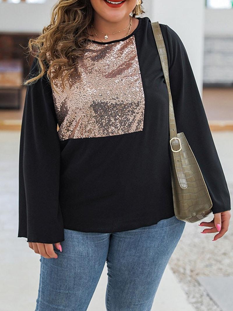 Ericdress Plus Size Long Sleeve Plain Standard Casual Loose T-Shirt