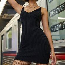 Solid Rib-knit Cami Sweater Dress