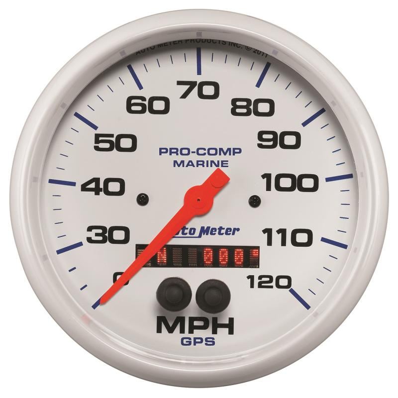 AutoMeter GAUGE; SPEEDOMETER; 5in.; 120MPH; GPS; MARINE WHITE