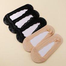 5 Paare Socken mit Spitzenbesatz