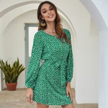 Ditsy Floral Print Belted Dress