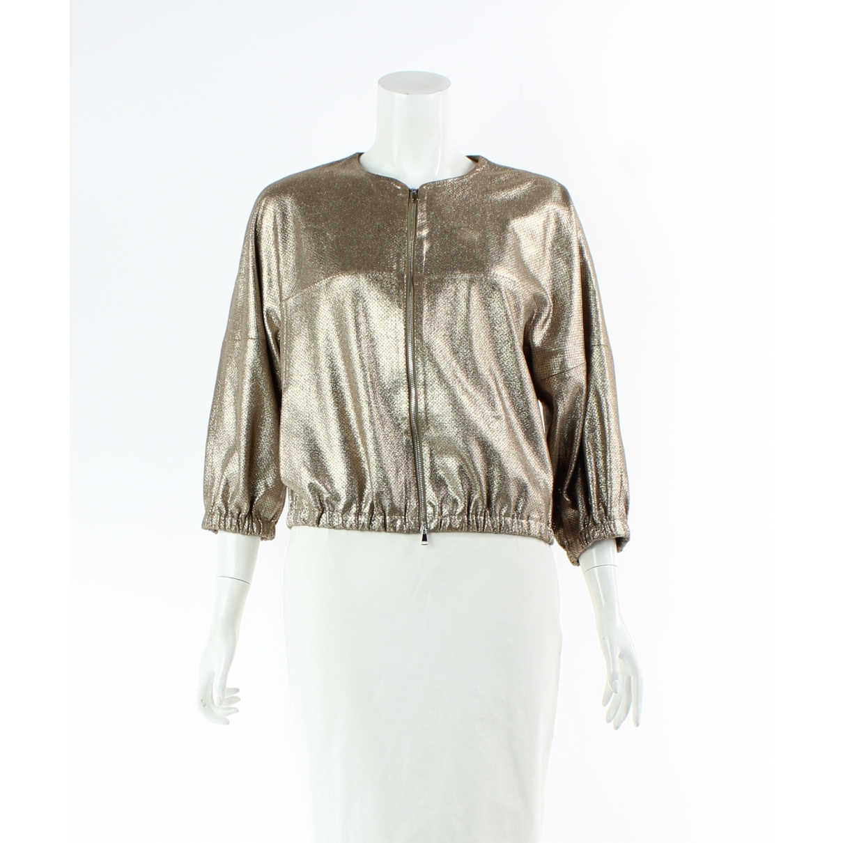 Liven \N Gold Leather jacket for Women 40 IT