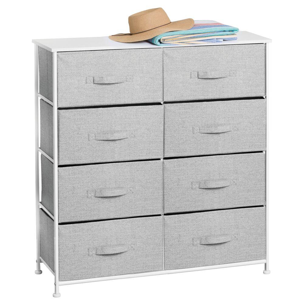 mDesign 8 Drawer Fabric Dresser Storage Organizer in Gray, 11.8