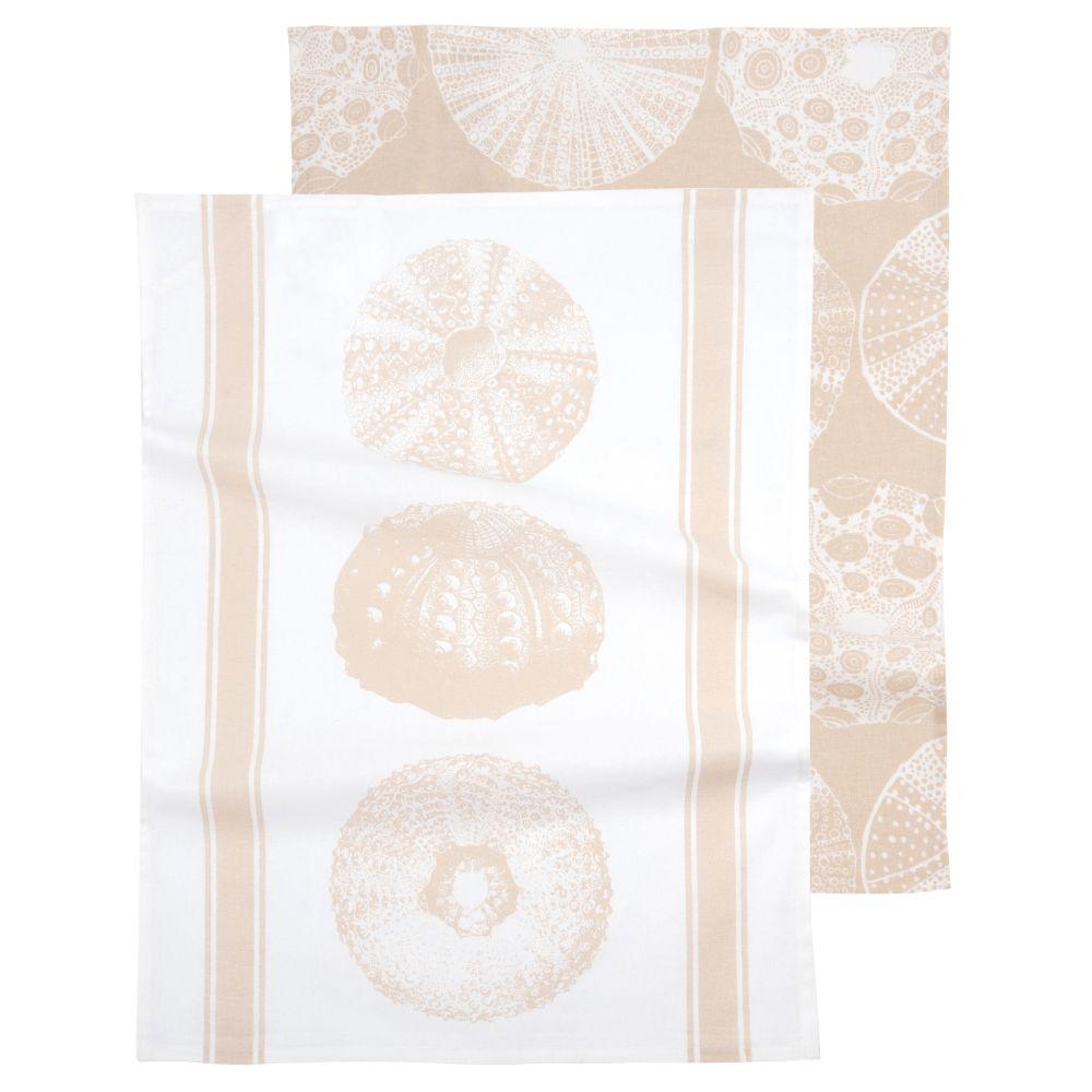 Geschirrtuecher aus Baumwolle, beige und weiss mit Motiven 50x70