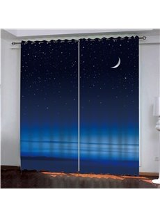 3D Scenery Print Night Sea Moon Blackout Curtain for Living Room Bedroom