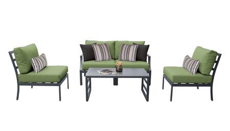 Lexington LEXINGTON-05d-CILANTRO 5-Piece Aluminum Patio Set 05d with1  Left Arm Chair 1  Right Arm Chair  2 Armless Chairs and 1 Coffee Table - Ash