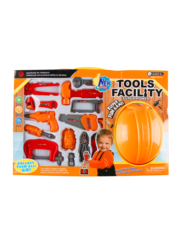 Kostuemzubehor Handwerker-Werkzeug 15-tlg. Farbe: orange