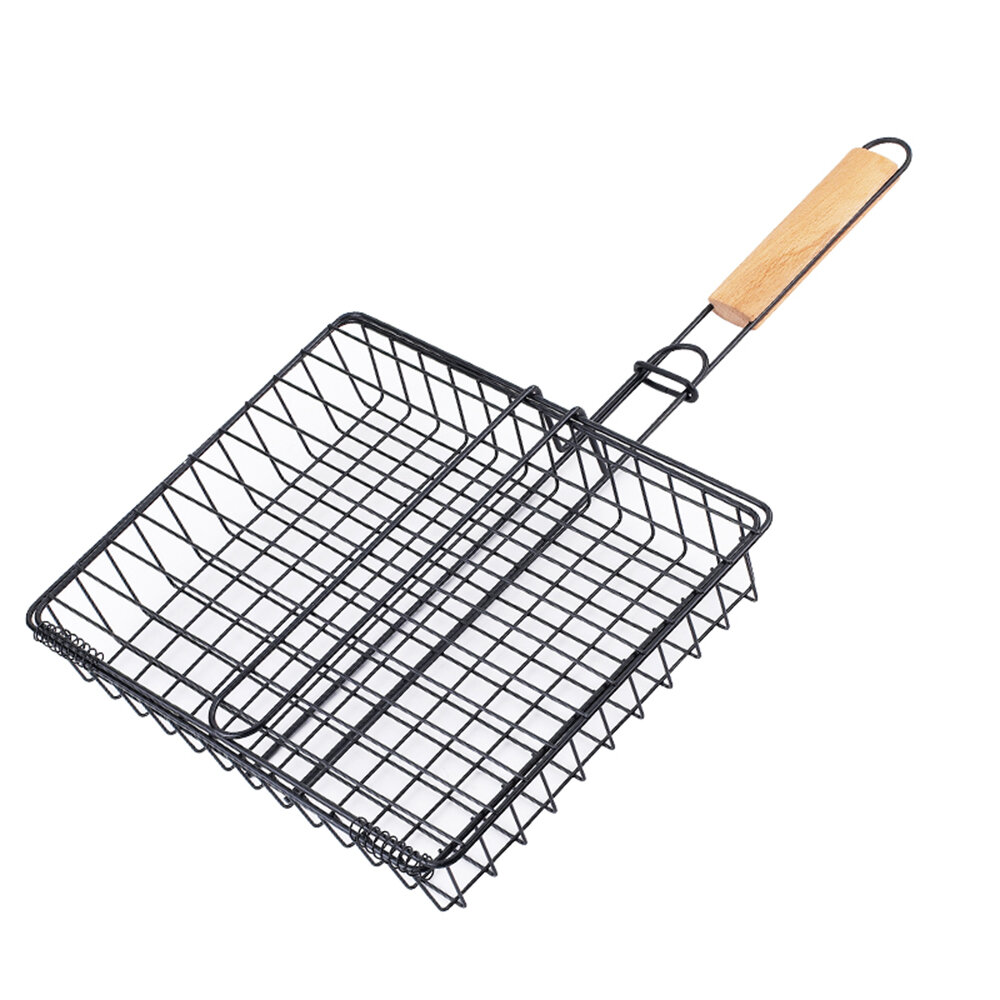 Barbecue Grill Basket with removable Handle for Grilling Hamburger Vegetables Fish Outdoor Campfire BBQ Plate Stick Gril