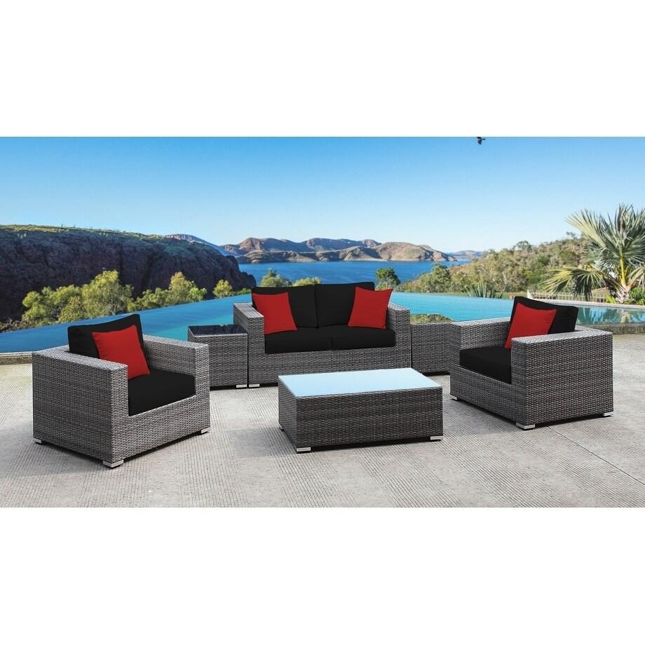 SOLIS Lusso 6-Piece Sofa Patio Set - Black Cushions, Red Toss Pillows