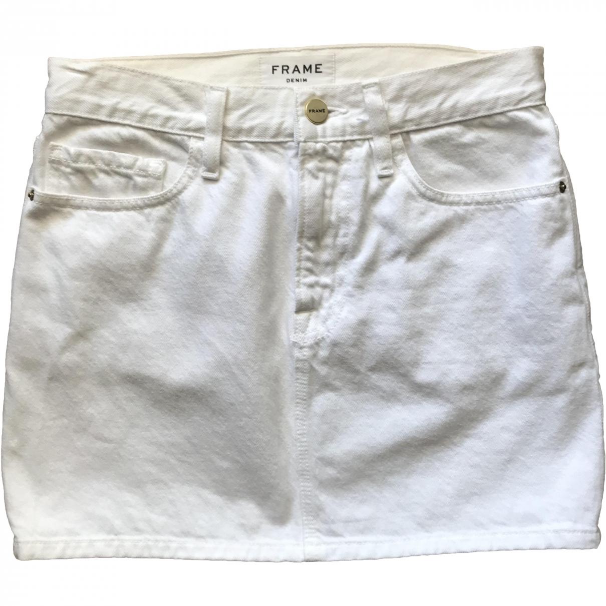 Frame Denim \N White Denim - Jeans skirt for Women XS International