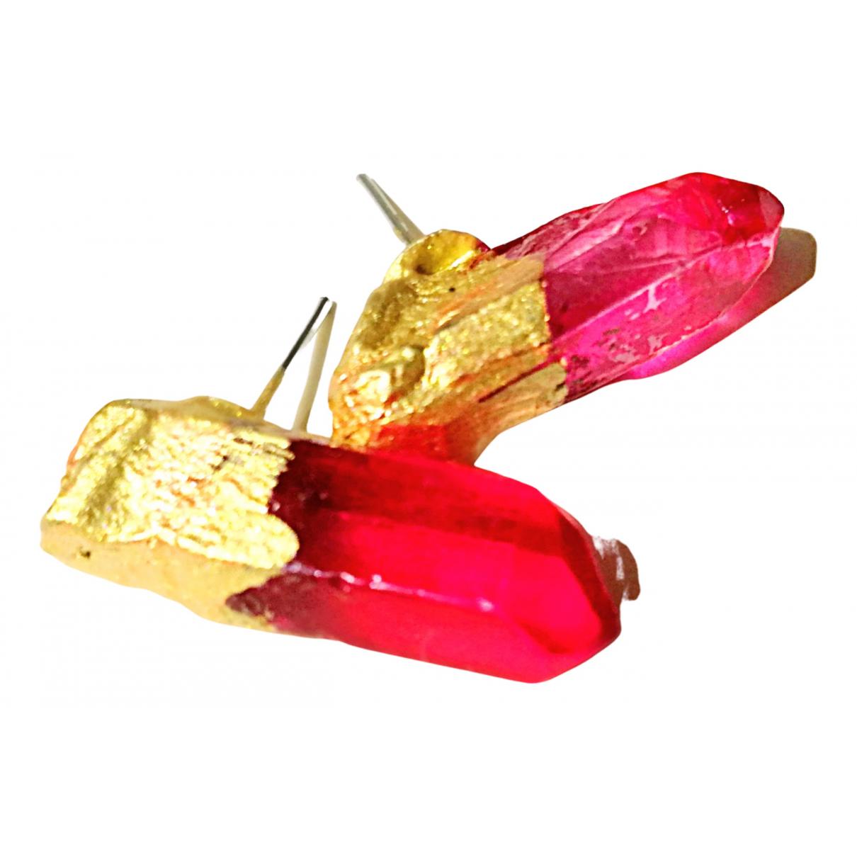 - Boucles doreilles   pour femme en cristal - rose