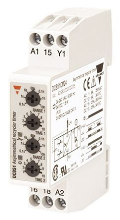 Carlo Gavazzi SPDT Multi Function Timer Relay - 0.1 s → 100 h, 2 Contacts, DIN Rail