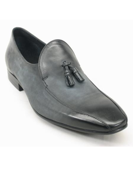Men's Charcoal Calf Skin Leather Fashion Loafers With Tassel