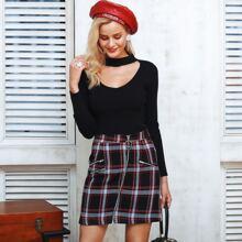 Plaid Zip Front Tweed Skirt