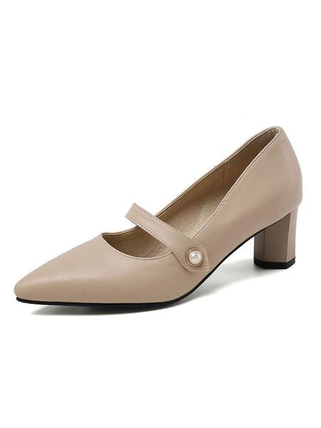 Milanoo Pointed Toe Heels Women Black Block Heel Pumps Mary Jane Shoes