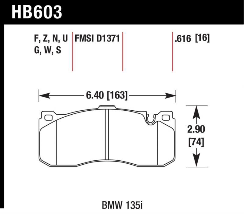 Hawk Performance HB603F.616 Disc Brake Pad BMW Front