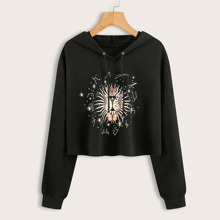 Butterfly And Galaxy Print Drawstring Hoodie