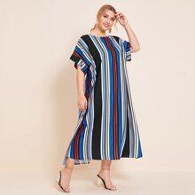 Plus Batwing Sleeve Striped Colorblock Dress