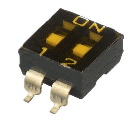 APEM 2 Way Surface Mount DIP Switch SPST, Recessed Actuator Slide Actuator (5)