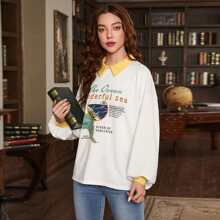 Pullover mit Kontrast Kragen, Laternenaermeln und Buchstaben Grafik