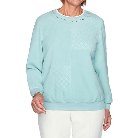 Alfred Dunner Classics Womens Crew Neck Long Sleeve Sweatshirt, Large , Green